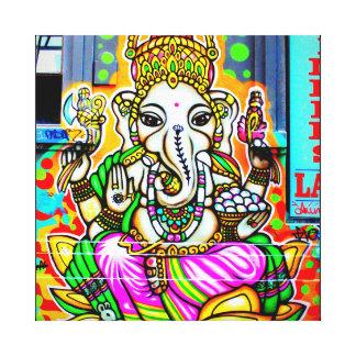 メルボルンの落書きの通りの芸術のGanesh象のネオン キャンバスプリント