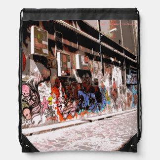メルボルンの通りの芸術のドローストリングのバックパック ナップサック
