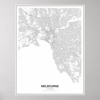 メルボルン、オーストラリアの最小主義の地図ポスター ポスター