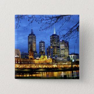 メルボルン、オーストラリア。 の夜の眺め 5.1CM 正方形バッジ