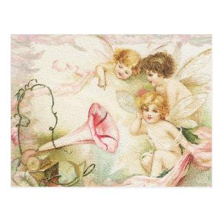 メロディー-天使、花、音楽 ポストカード