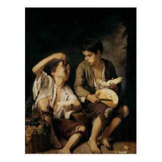 メロンおよびブドウ1645-46年を食べている2人の子供 ポストカード