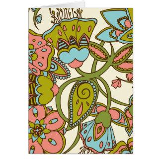 メロンおよび青い花柄 カード