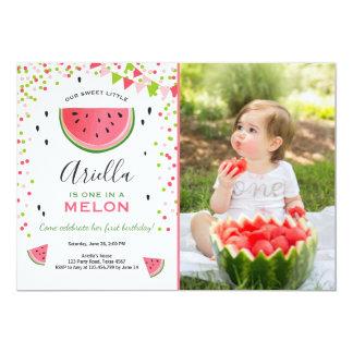 メロンの誕生日の招待状のスイカの1つ カード