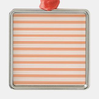 メロンオレンジ及び白のストライプ メタルオーナメント
