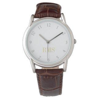 メンズクラシックなブラウンの革バンドのモノグラムのな腕時計 腕時計