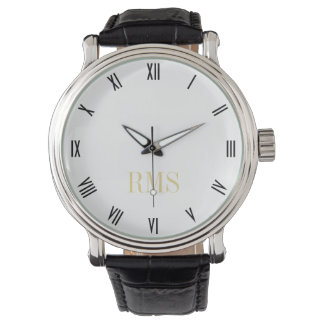 メンズクラシックなヴィンテージの一見のモノグラムのイニシャルの腕時計 腕時計