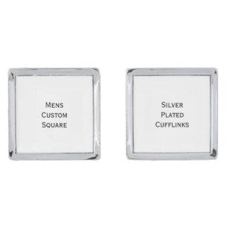メンズスタイリッシュでカスタムな正方形の銀によってめっきされるカフスボタン 銀色 カフリンク