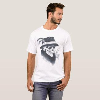 メンズ白く古いスカルのティー Tシャツ