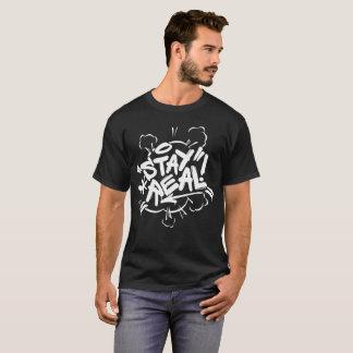 メンズ落書き: 滞在の実質の黒いヒップホップ Tシャツ