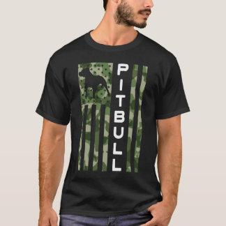 メンズ誇りを持ったなピットブルのパパの認識度のTシャツ Tシャツ