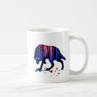 メンズ10代のな男の子のオオカミの銀河系の星の森林シルエット コーヒーマグカップ