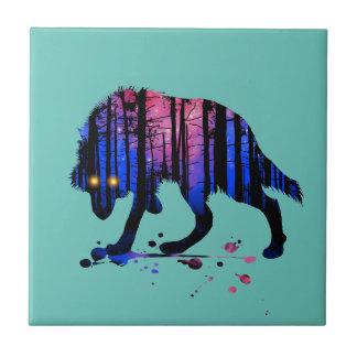 メンズ10代のな男の子のオオカミの銀河系の星の森林シルエット タイル