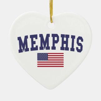 メンフィス米国の旗 セラミックオーナメント