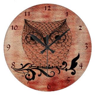 メンフクロウのお洒落な国 ラージ壁時計