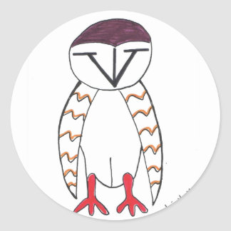メンフクロウのステッカー ラウンドシール