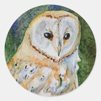 メンフクロウの水彩画の大きい頭部 ラウンドシール