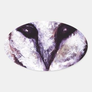 メンフクロウ 楕円形シール