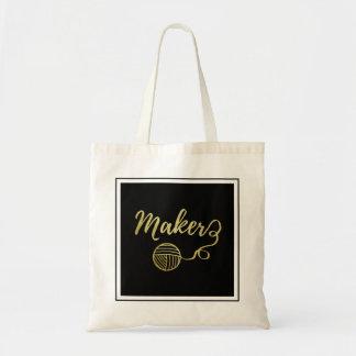 メーカー • ヤーン及び技術の模造のな金ゴールドのプロジェクト トートバッグ