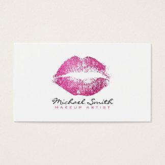 メーキャップアーティストのスタイリッシュなピンクのグリッターの唇#2 名刺