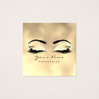 メーキャップアーティストの眉毛の目の鞭のグリッターの金ゴールドのワックスを掛けること スクエア名刺