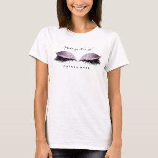 メーキャップアーティストの美しいの鞭の目のラベンダーのグリッター Tシャツ