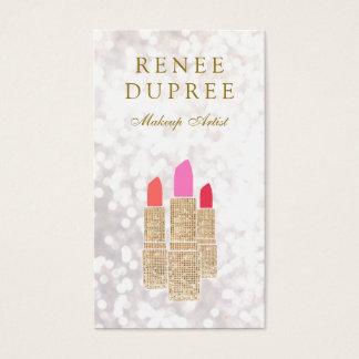 メーキャップアーティストの金ゴールドの口紅の《写真》ぼけ味の美しい 名刺