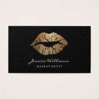 メーキャップアーティストの金ゴールドの唇の黒 名刺