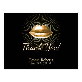 メーキャップアーティスト3Dの金ゴールドの唇の美容院は感謝していしています 葉書き