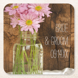 メーソンジャーおよびピンクのデイジーの国の納屋の結婚式 スクエアペーパーコースター