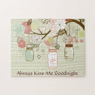 メーソンジャーおよび花-私にGoodnight常に接吻して下さい ジグソーパズル