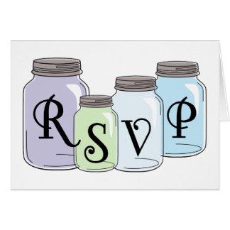 メーソンジャーと文字デザインなRSVP カード
