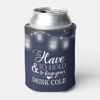 メーソンジャーのひもは濃紺の結婚式をつけます 缶クーラー