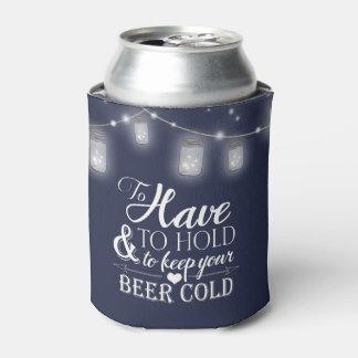 メーソンジャーのひもは濃紺の結婚式ビールをつけます 缶クーラー