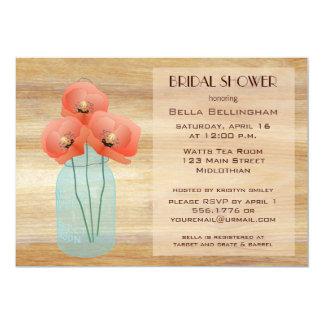 メーソンジャーのケシのブライダルシャワーの招待状 カード
