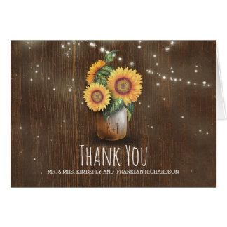 メーソンジャーのヒマワリの素朴な結婚式は感謝していしています カード