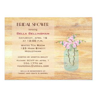 メーソンジャーのピンクのツツジのブライダルシャワーの招待状 カード