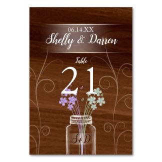 メーソンジャーの国の結婚式のテーブルカード カード
