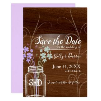 メーソンジャーの国の結婚式の保存日付 カード