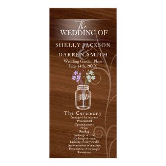 メーソンジャーの国の結婚式プログラム ラックカード