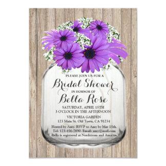 メーソンジャーの紫色のデイジーのブライダルシャワーdaisy3 カード