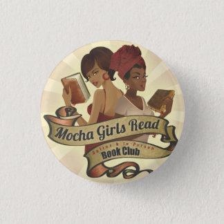 モカ女の子の読書のロゴボタン 3.2CM 丸型バッジ