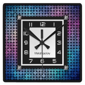 モザイクおよび金属の柱時計 スクエア壁時計