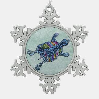 モザイクカメの雪片のオーナメント スノーフレークピューターオーナメント