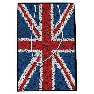 モザイクスタイルの英国国旗の旗 ミディアムペーパーバッグ