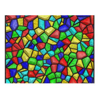 モザイクステンドグラスの窓。 レトロのヴィンテージパターン ポストカード