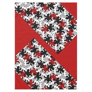 モザイクヤモリパターン-赤い白黒 テーブルクロス