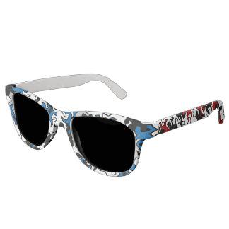 モザイクヤモリパターン-赤く及び青の白黒 サングラス