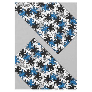 モザイクヤモリパターン-青い白黒の灰色 テーブルクロス