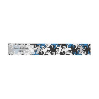 モザイクヤモリパターン-青い白黒の灰色 ラップアラウンド宛名ラベル